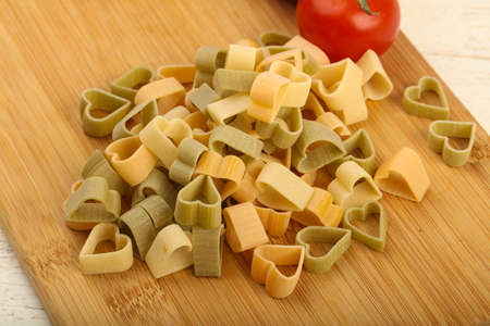 hape: Raw pasta hearts hape - ready for cooking Stock Photo