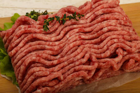 carne picada: Raw minced beef meat with thyme and hot pepper