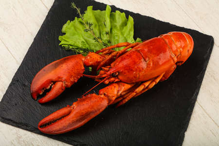 fish tail: Delicous cuisine - Boiled Lobster ready for eat Stock Photo