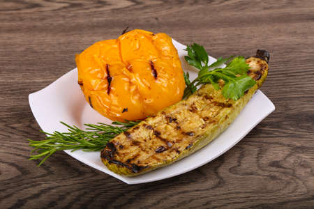 cooking oil: Grilled zucchini with pepper and fresh rosemary