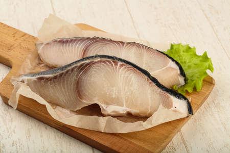 shark catfish: Raw juicy shark steak ready for grill Stock Photo