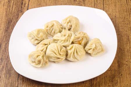 中国餃子のモモぬいぐるみエビ、鶏肉、牛肉または豚肉 写真素材