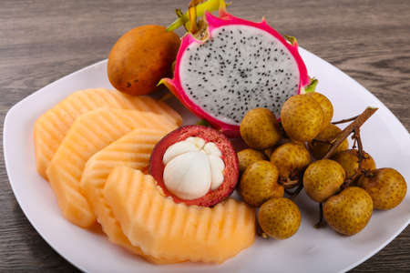 Tropical fruit mix - melon, longan, mangosteen, dragonfruit