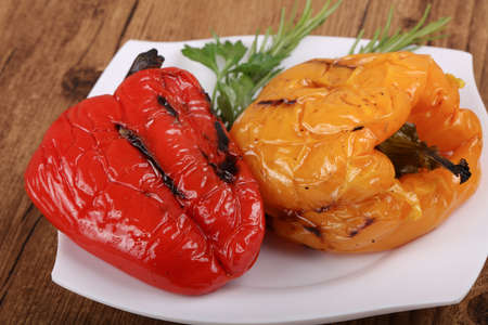 Grilled Bell Peppers with rosemary and parsley Stock Photo