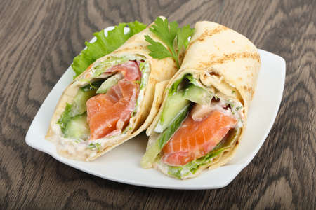 hotcakes: Salmon bread roll with cheese Stock Photo
