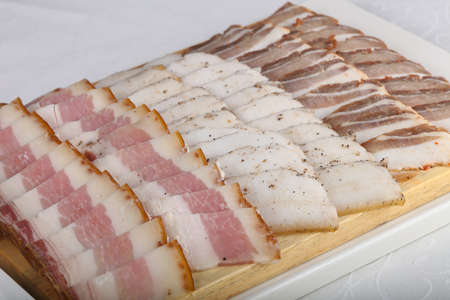 Plate with pork fat mix Stock Photo