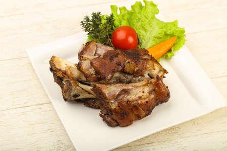 Roasted pork knee with dijon mustard sauce Stock Photo