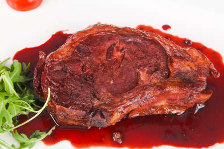 Beef Steak with berry sauce Stock Photo