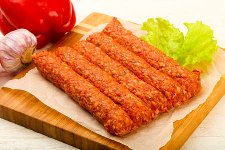 spice: Raw beef sausages for grill