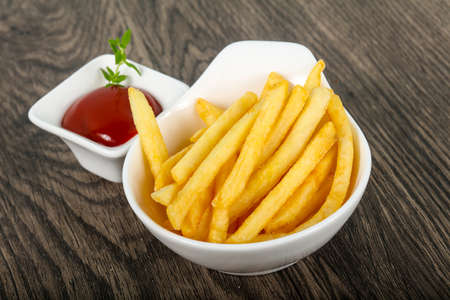 junk: French fries with tomato ketchup