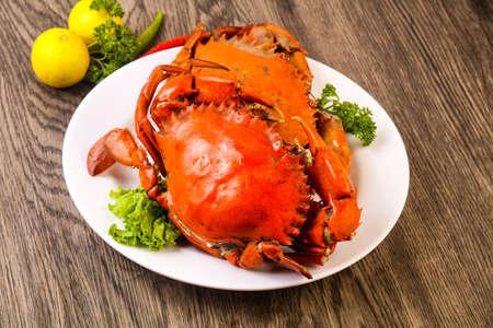 Boiled crab fresh and hot - delicous appetizer Foto de archivo