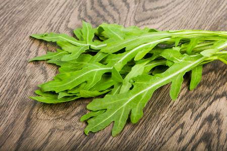 Green fresh Rucola leaves Stock Photo