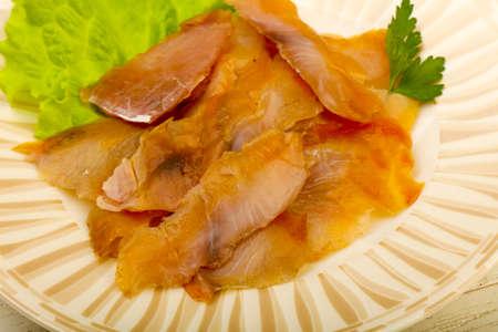 catfish: Smoked catfish fillet carpaccio Stock Photo