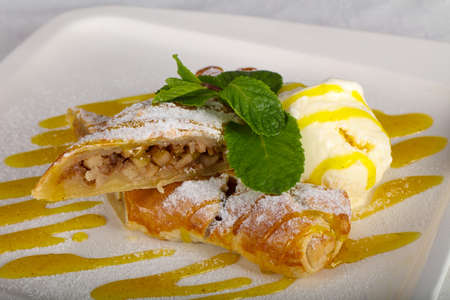 Apple strudel with ice-cream