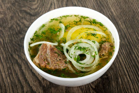 Caucasian meat soup - Hashlama with lamb or beef Stock Photo