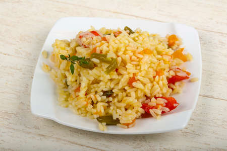 Mexican rice with vegetables and herbs