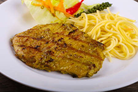 Grilled pork meat with green curry and pepper Banque d'images