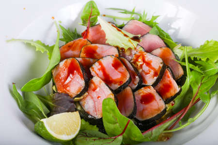 Tuna salad with lime and herbs Stock Photo
