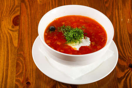 Solyanka soup with cream Stock Photo