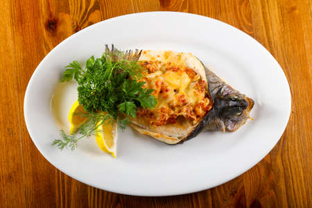 Stuffed trout with cheese Stock Photo