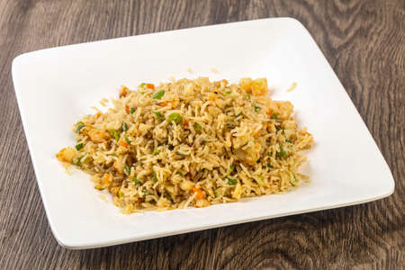 Indian traditional cuisine - Fried rice with prawn Stock Photo