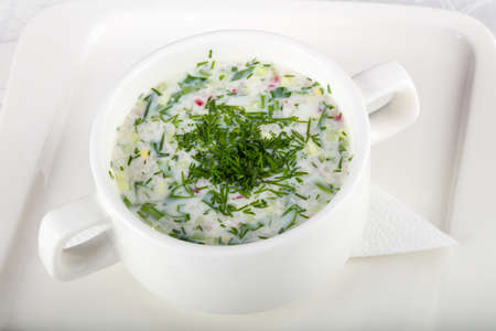 Okroshka soup with dill