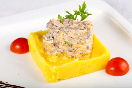 Fricassee with mushed potato served parsley