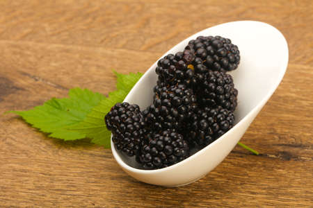 Blackberries with leaf Stock Photo