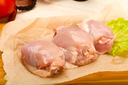 Boneless raw chicken thighs - ready for cooking