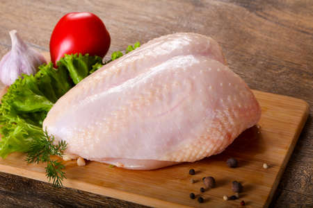 Raw chicken with skin