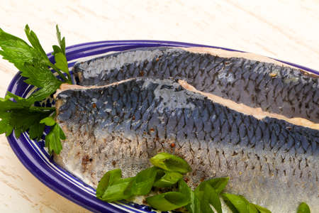 Herring fillet with skin Stock Photo