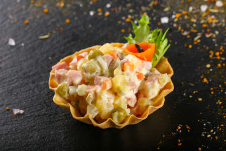 Tartlet with Russian salad for catering