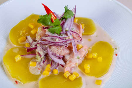 Ceviche with salmon and onion