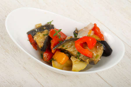 Steamed vegetables - eggplant, tomato, pepper and zucchini Stock Photo