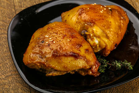 Roasted chicken thighs with spices and soya sauce