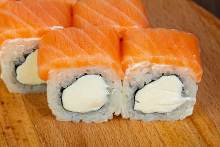 Roll with salmon and soft cheese 写真素材