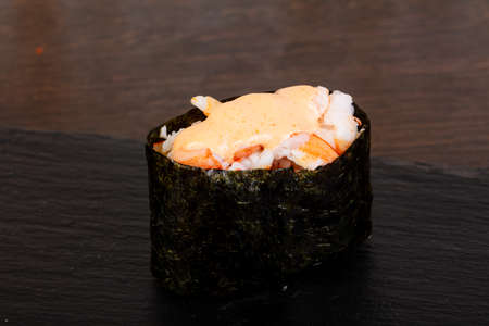 Delicious crab sushi with sauce Stok Fotoğraf