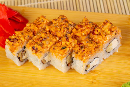 Delicious spicy eel sushi roll 写真素材