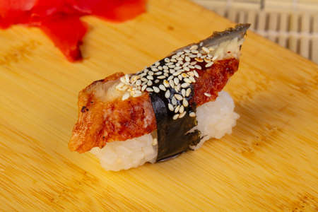 Tasty smoked eel sushi with sesame