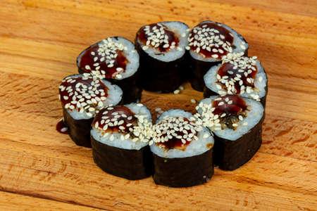 Unagi maki - japanese eel roll Stock Photo