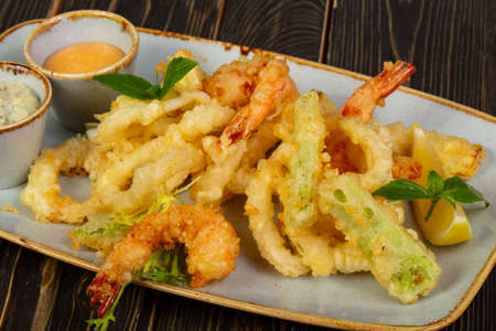 Prawn tempura with vegetables and sauce