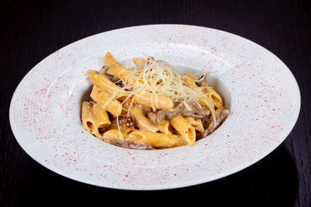 Delicious beef penne with cheese