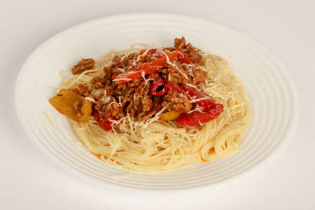 Pasta Bolognese with cheese parmesan Stockfoto