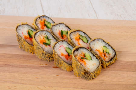 Tempura roll with crab and cucumber