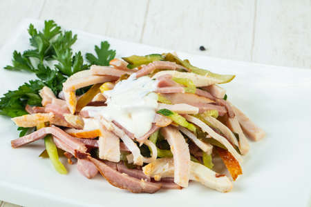 Ham salad with sauce and parsley Stock Photo - 103894204