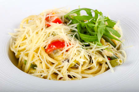 Pasta with mushroom served rucola Imagens