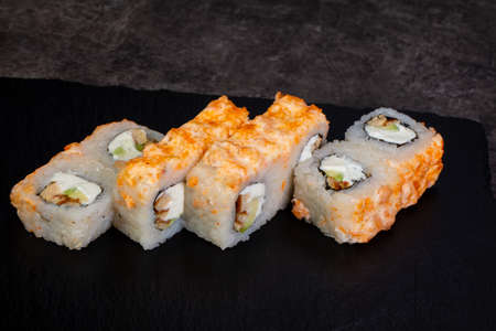 Japanese traditional roll with salmon Stock Photo