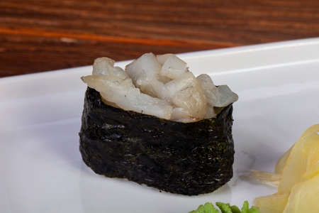 Japanese sushi gunkan with yellowtail