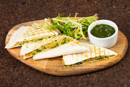 Delicious quesadilla pita with avocado pasta