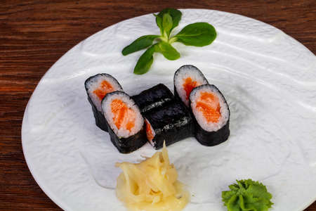 Japanese traditional Maki roll with salmon Stock Photo